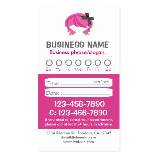 Custom pink white hair appointment cards pack of standard business cards