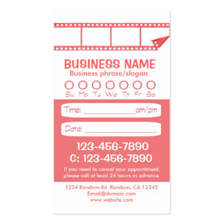 Custom pink white photo appointment cards business card