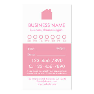 Custom pink white real estate appointment cards business card
