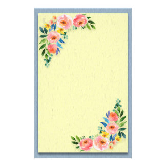 Custom Pink Yellow Floral Bouquet on Blue Yellow Stationery
