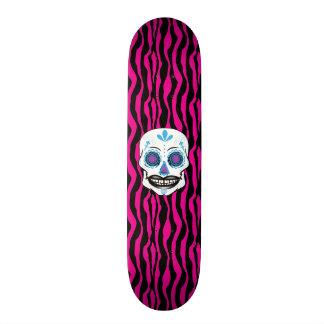 Custom Pink Zebra Print Blue Candy Skull Deck Custom Skate Board