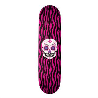 Custom Pink Zebra Print Pink Candy Skull Deck 19.7 Cm Skateboard Deck