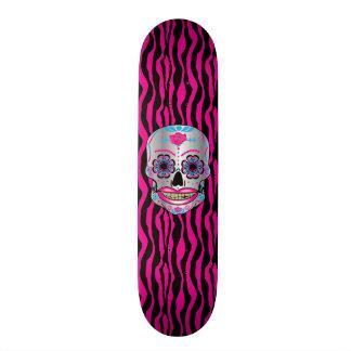 Custom Pink Zebra Print Rose Candy Skull Deck Skate Board Decks