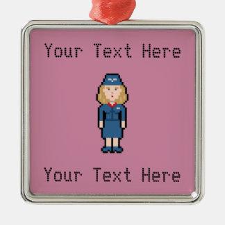 Custom Pixel Flight Attendant Silver-Colored Square Decoration