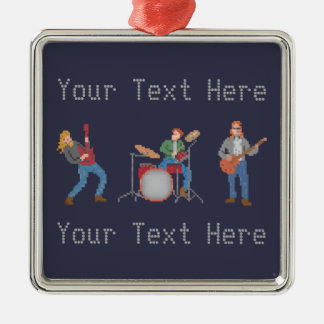 Custom Pixel Rock Band Silver-Colored Square Decoration