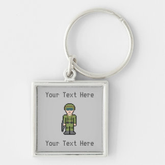 Custom Pixel Soldier Silver-Colored Square Key Ring