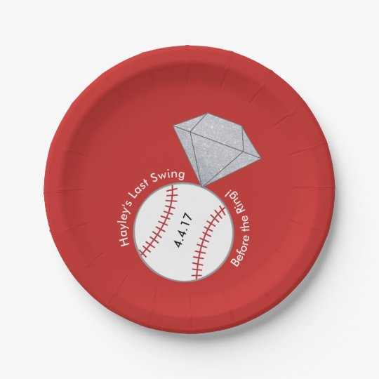 Custom Plates for Bachelorette- Baseball Theme
