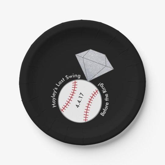 Custom Plates for Bachelorette- Baseball Theme 7 Inch Paper Plate