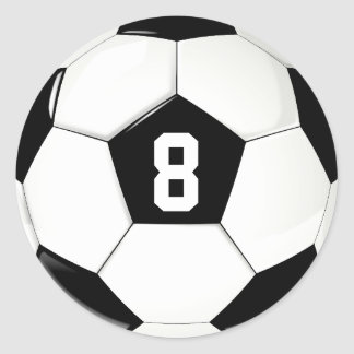 Custom Player Number Black and White Soccer Ball Classic Round Sticker