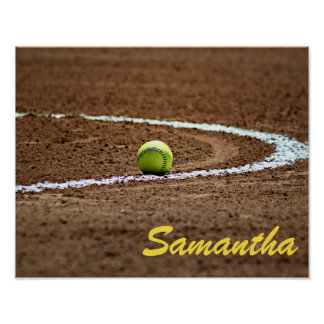 Custom player or team name softball photo poster