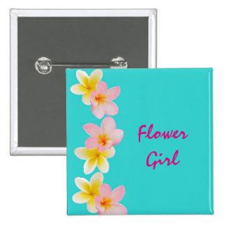 Custom Plumeria Flower Wedding Flower Girl Buttons