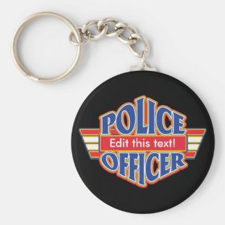 Custom Police Officer Basic Round Button Key Ring