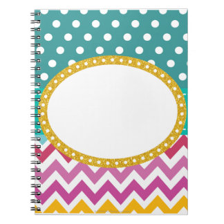Custom Polka Dot Chevron Teacher Gift Notebook