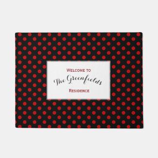 Custom Polka Dot Red Black Background Doormat