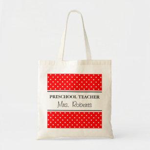 Custom pre school teacher tote bag | Red polka dot