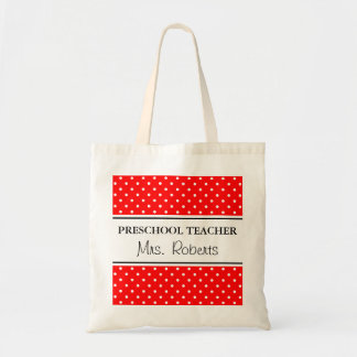 Custom pre school teacher tote bag | Red polka dot