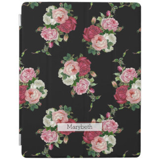 Custom Pretty Girly Black Vintage Floral iPad Cover