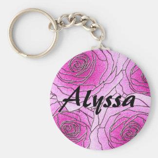 Custom Pretty Pink Roses Keychain