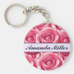 Custom Pretty Pink Roses Name, Initials Keychain