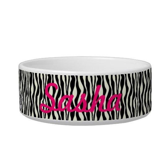 Custom Princess Zebra Print Food Dish
