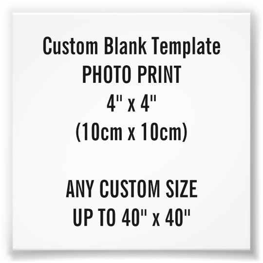 "Custom Print 4"" x 4"" Photo Print Blank"