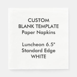 Custom Print Large WHITE Luncheon Paper Napkins