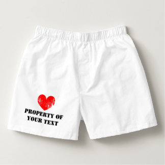 Custom PROPERTY OF heart boxer shorts for men Boxers