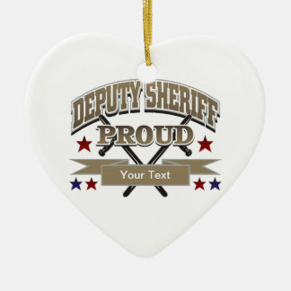 Custom Proud Deputy Sheriff Ceramic Heart Decoration