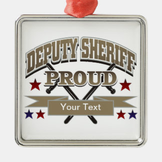 Custom Proud Deputy Sheriff Silver-Colored Square Decoration