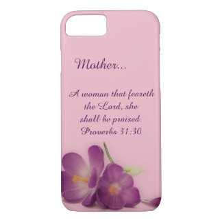 Custom Proverbs 31 Woman Christian Purple Flower iPhone 7 Case
