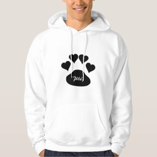 Custom Pug Love Large Black Dog Paw Hearts Hoodie
