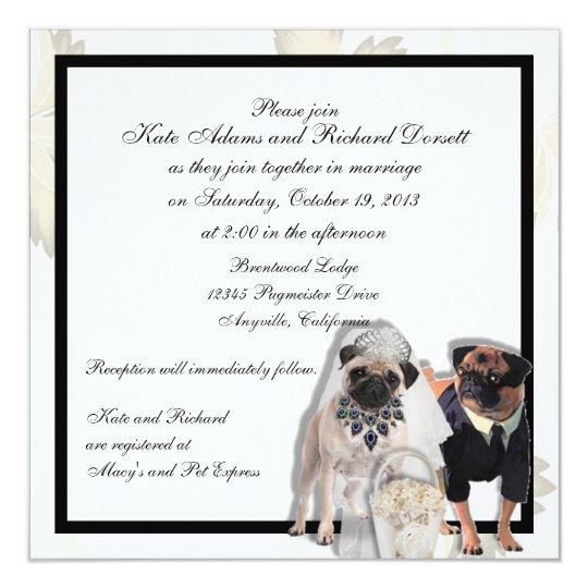 Custom Pug Wedding or Anniversary Invitations