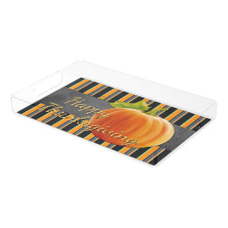Custom Pumpkin Orange Green Stripes Pattern Acrylic Tray
