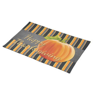 Custom Pumpkin Orange Green Stripes Pattern Placemat