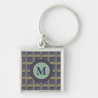 Custom Purple and Green Monogram Silver-Colored Square Key Ring