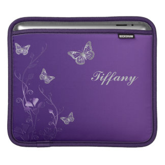 Custom Purple and Silver Flowers and Butterflies iPad Sleeves