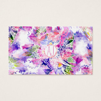 custom purple  blue watercolor abstract floral business card