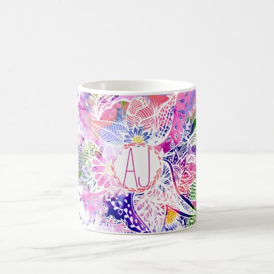 custom purple blue watercolor abstract floral coffee mug