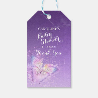 Custom Purple Butterfly Watercolor Baby Shower