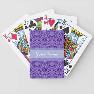 Custom Purple Damask Bicycle Playing Cards
