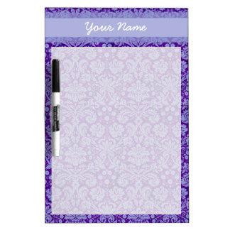 Custom Purple Damask Dry Erase Board