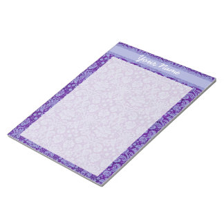 Custom Purple Damask Notepad