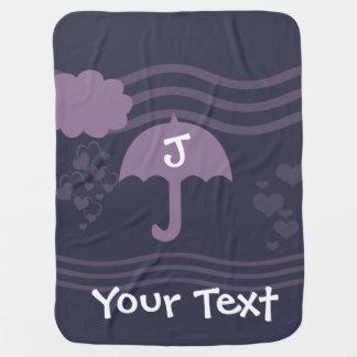 Custom Purple Hearts Rain Baby Shower Birthday Pramblanket