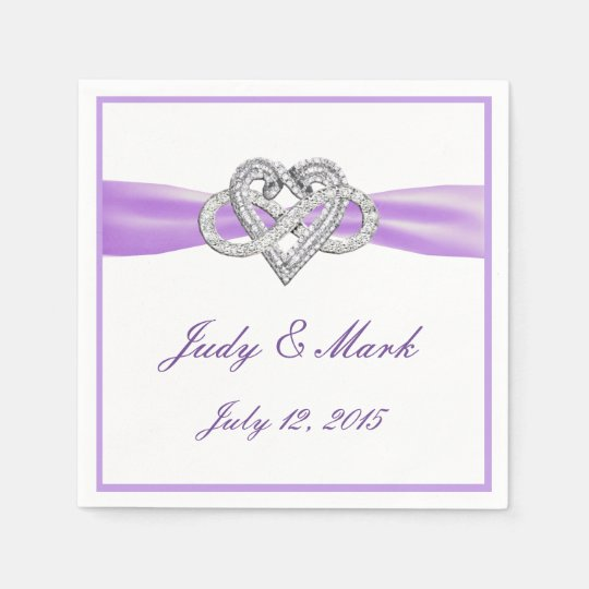 Custom Purple Infinity Heart Paper Napkins Disposable Serviette