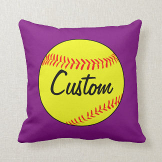 Custom Purple Softball Throw Pillow