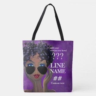 Custom Purple Sorority Black Art Tote Bag