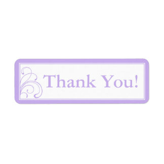Custom Purple & White Thank You Stickers or Labels