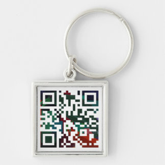 Custom Q R Code Silver-Colored Square Key Ring