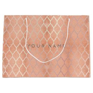 Custom Quatrefoil Coral Metallic Rose Gold Peach Large Gift Bag