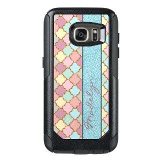 Custom Quatrefoil Mosaic Pattern Glitter Look OtterBox Samsung Galaxy S7 Case